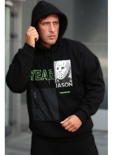 XHAN Siyah Baskılı Nakışlı Sweatshirt 1Kxe8-44331-02 Siyah
